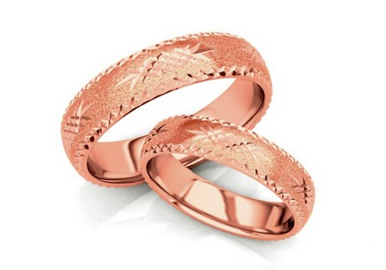 Rose Gold Wedding Bands Engraved width 4 mm