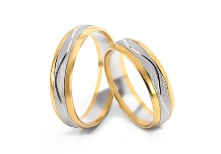 Wedding rings two tone width 5 to 6 mm