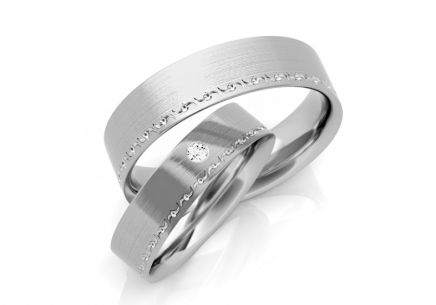 Wedding Bands with Zircon width 5-8 mm