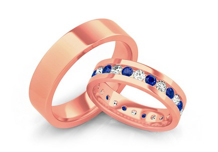 Wedding rings with blue zircons, width 5 mm