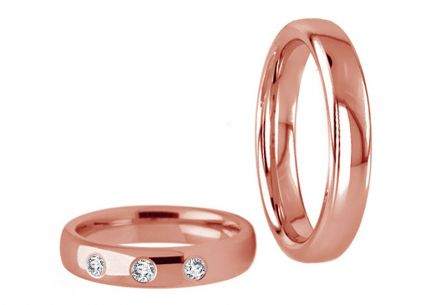 Wedding rings with cubic zirconia width 4.5 mm