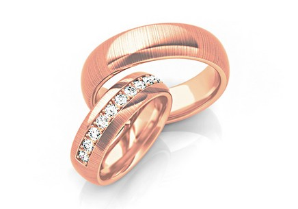 Wedding bands with cubic zirconia width 6mm