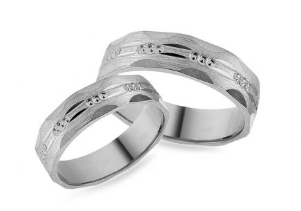 White gold engraved wedding rings, width 5 mm