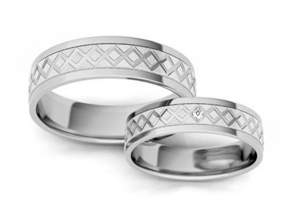 Wedding Bands Engraved with Zircons width 5-8 mm