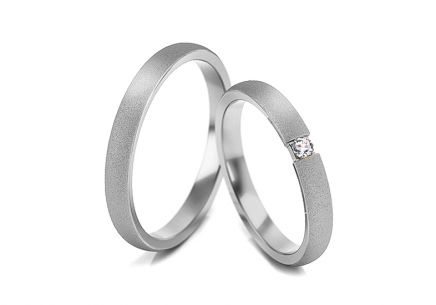 Wedding rings with zircons width 3 to 10 mm