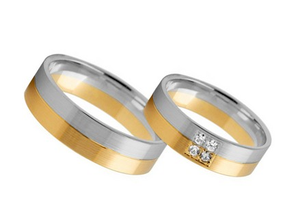 Bi color Wedding ring 4 mm