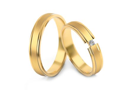 Wedding rings two tone with diamond 0,030 ct width 4 mm