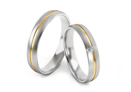 Wedding rings with diamond 0.040 ct width 4 mm