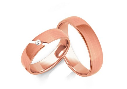 Wedding rings with diamond 0.040 ct width 5 mm
