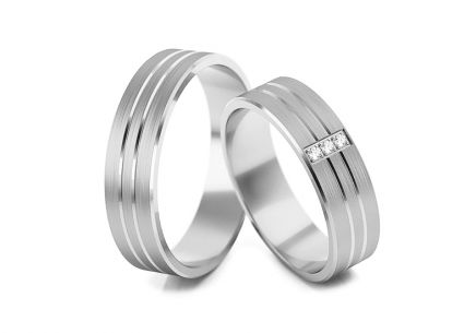 Wedding rings with diamonds 0.030 ct width 5.3 mm