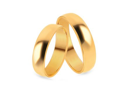 Classic gold wedding rings, width 3 to 8 mm