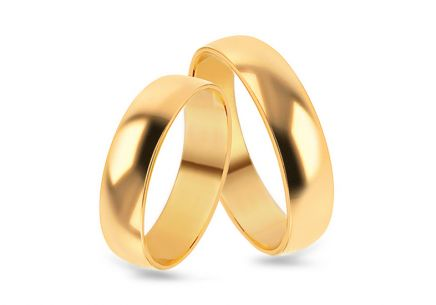 Classic gold wedding rings, width 3 to 9 mm