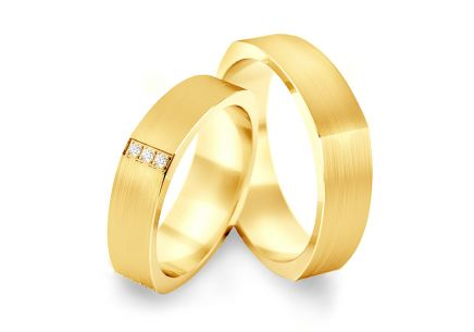 Wedding bands with cubic zirconia width 5.2 mm