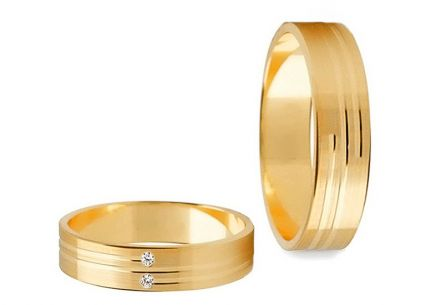 Wedding rings with stones width 4 mm