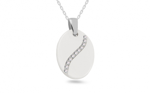 White ceramic pendant decorated with cubic zirconia for  ladies - IS676