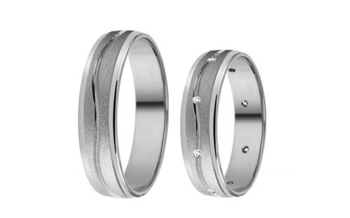White Gold Cubic Zirconia Wedding Bands - RYOB210