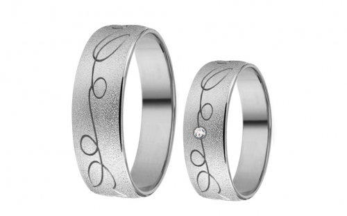 White Gold Cubic Zirconia Wedding Bands - RYOB201