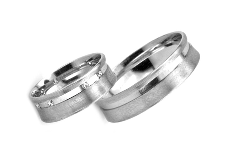 White Gold Cubic Zirconia Wedding Bands - RYOB190