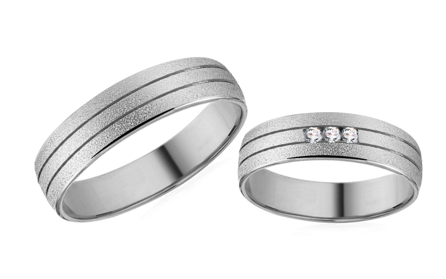 White Gold Cubic Zirconia Wedding Bands - RYOB189