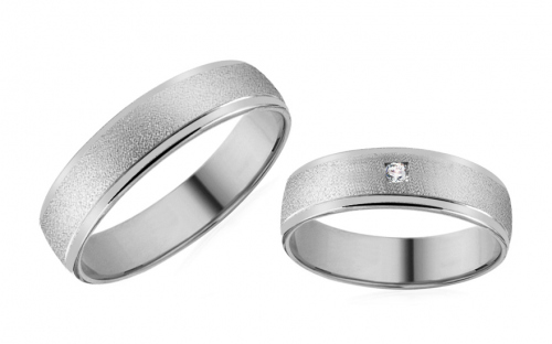 White Gold Cubic Zirconia Wedding Bands - RYOB182