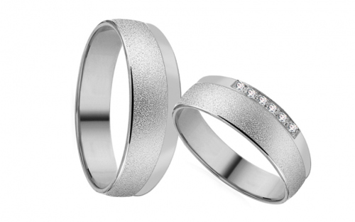 White Gold Cubic Zirconia Wedding Bands - RYOB179