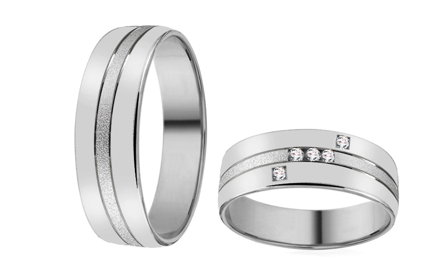 White Gold Cubic Zirconia Wedding Bands - RYOB167