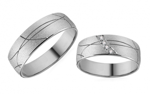White Gold Cubic Zirconia Wedding Bands - RYOB166