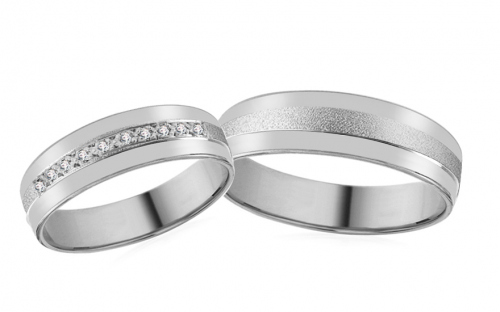 White Gold Cubic Zirconia Wedding Bands - RYOB127
