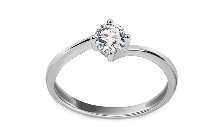 White Gold Engagement Ring with Zircon  Pelgia - IZ13309A