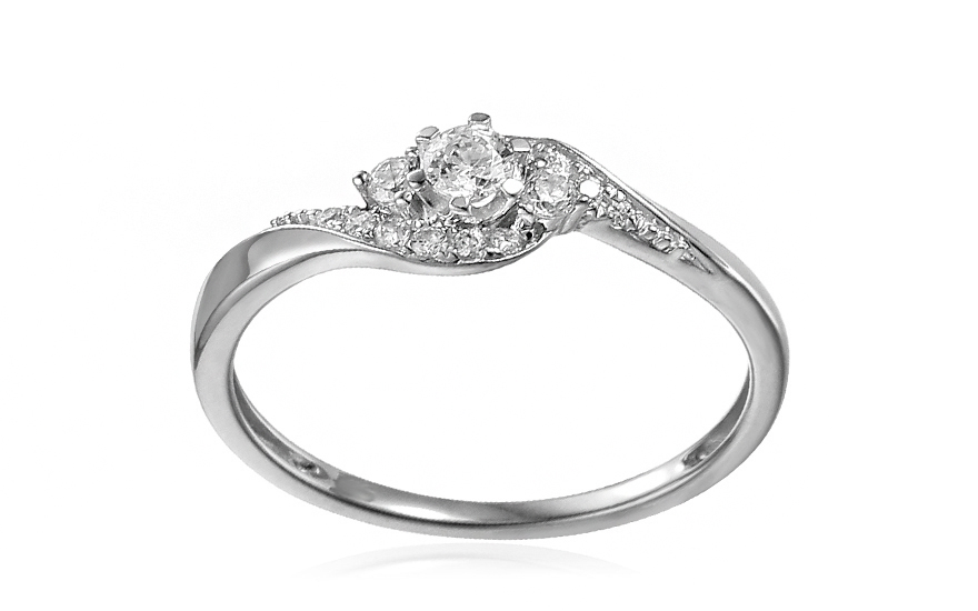 White Gold Engagement Ring with Zircons Elesa - IZZR012A