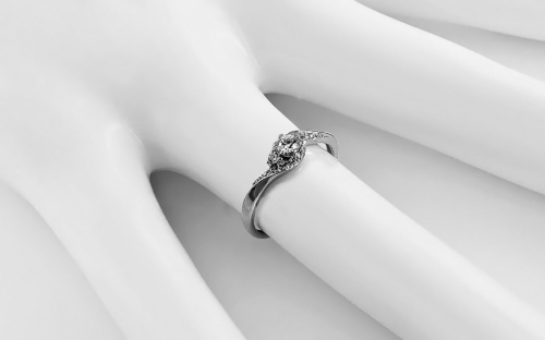 White Gold Engagement Ring with Zircons Elesa - IZZR012A - on a mannequin