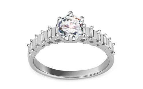 "White Gold Engagement Ring with Zircons ""Isarel 11"" - CSRI827A"