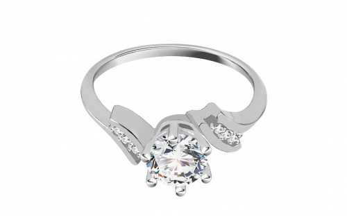 "White Gold Engagement Ring with Zircons ""Isarel 19"" - CSRI792A"