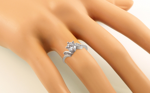 "White Gold Engagement Ring with Zircons ""Isarel 19"" - CSRI792A - on a mannequin"