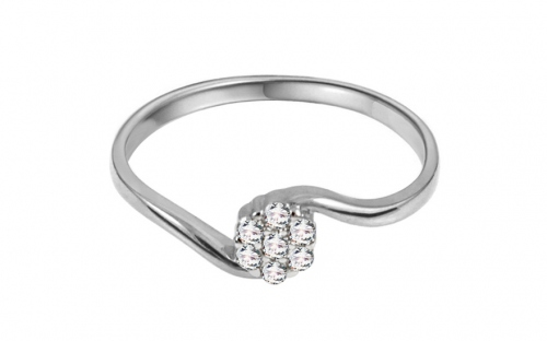 "White Gold Engagement Ring with Zircons ""Jazzmyn"" - IZ11274A"