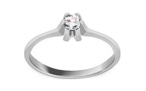 "White Gold Engagement Ring with Zircons ""Princess 18"" - CSRI2100A"