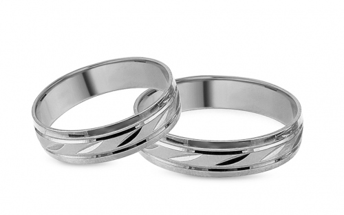 White gold wedding rings with engraved pattern, width 5 mm - IZOB102A
