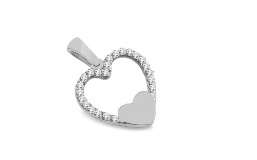 White Gold Zircon Heart - IZ8919A