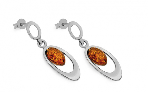 Womens stud earrings with amber - IS99