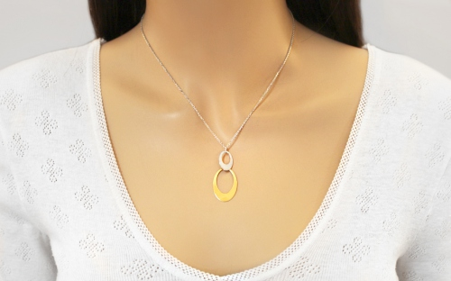Women's Rhodium plated silver necklace with 14k.goldplate - IS1150