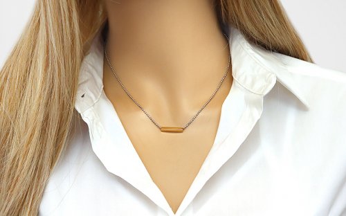Women's Rhodium plated silver necklace with 14k.goldplate - IS1376