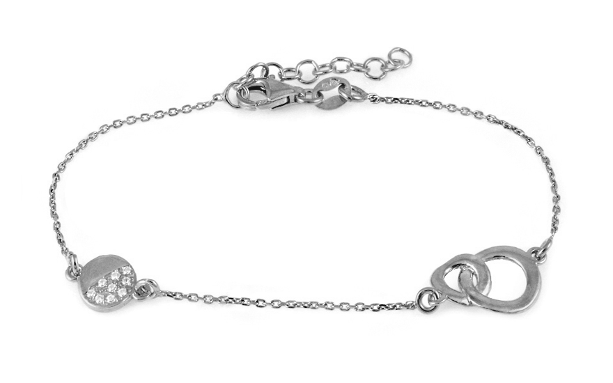 Women's Sterling Silver Bracelet with Circles - IS1150N