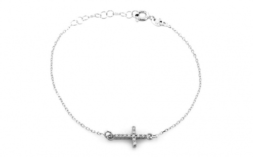 Rhodium plated silver bracelet with cross design